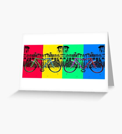 Coloured Bicycles Greeting Card