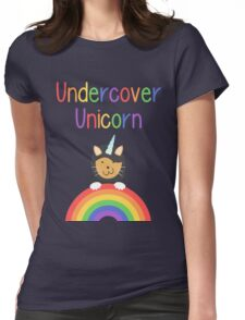 Undercover Unicorn Cat Womens Fitted T-Shirt