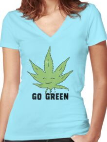 Go green Women's Fitted V-Neck T-Shirt