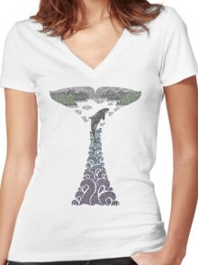 Orca whale tail illustration Women's Fitted V-Neck T-Shirt