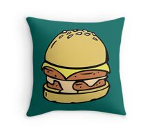 Double Decker Cheese Burger Throw Pillow