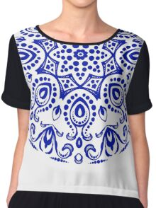Blue round ornament Chiffon Top