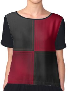 Patchwork Red & Black Leather Effect Motley Chiffon Top
