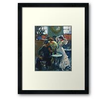 Ricard Canals Llambi - Al Bar. Cafe view: drinking and eating party, woman and man, people, family, female and male, peasants, cafe, romance, women and men, restaurant, food Framed Print