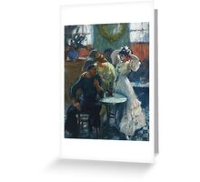 Ricard Canals Llambi - Al Bar. Cafe view: drinking and eating party, woman and man, people, family, female and male, peasants, cafe, romance, women and men, restaurant, food Greeting Card