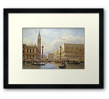 Salomon Corrodi - A View Of The Piazzetta With The Doges Palace From The Bacino, Venice. Urban landscape: Venice, port, dock, buildings, ship canal, gondola, gondolas, gondolier, gondoliers, boats Framed Print
