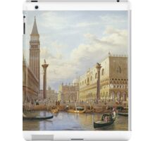 Salomon Corrodi - A View Of The Piazzetta With The Doges Palace From The Bacino, Venice. Urban landscape: Venice, port, dock, buildings, ship canal, gondola, gondolas, gondolier, gondoliers, boats iPad Case/Skin