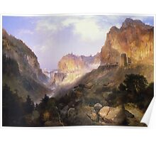 Thomas Moran - Golden Gate, Yellowstone National Park. Mountains landscape: mountains, rocks, rocky nature, sky and clouds, trees, peak, Canyon,  National Park, hill, travel, hillside Poster