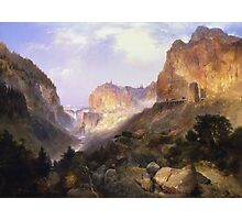 Thomas Moran - Golden Gate, Yellowstone National Park. Mountains landscape: mountains, rocks, rocky nature, sky and clouds, trees, peak, Canyon,  National Park, hill, travel, hillside Photographic Print