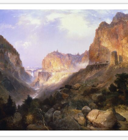 Thomas Moran - Golden Gate, Yellowstone National Park. Mountains landscape: mountains, rocks, rocky nature, sky and clouds, trees, peak, Canyon,  National Park, hill, travel, hillside Sticker