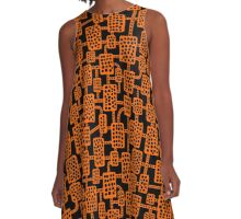 Abstract pattern 041113 - Orange on Black A-Line Dress
