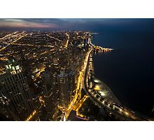 Nightime Chicago looking north from the John Hancock observatory. Photographic Print
