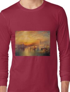 Thomas Moran - Grand Canal, Venice 1898. Mountains landscape: mountains, rocks, rocky nature, sky and clouds, trees, peak, forest, Canyon, hill, travel, hillside Long Sleeve T-Shirt
