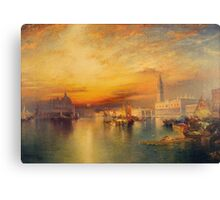 Thomas Moran - Grand Canal, Venice 1898. Mountains landscape: mountains, rocks, rocky nature, sky and clouds, trees, peak, forest, Canyon, hill, travel, hillside Canvas Print