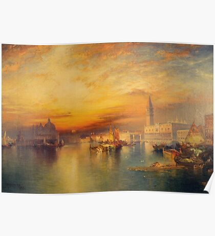 Thomas Moran - Grand Canal, Venice 1898. Mountains landscape: mountains, rocks, rocky nature, sky and clouds, trees, peak, forest, Canyon, hill, travel, hillside Poster