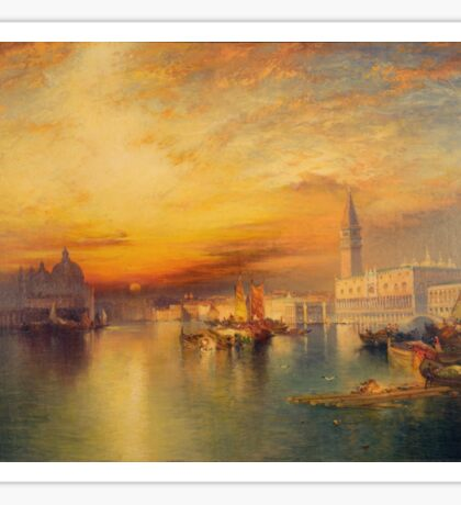 Thomas Moran - Grand Canal, Venice 1898. Mountains landscape: mountains, rocks, rocky nature, sky and clouds, trees, peak, forest, Canyon, hill, travel, hillside Sticker
