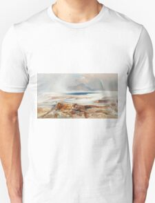 Thomas Moran - Hot Springs Of The Yellowstone 1872. Mountains landscape: mountains, rocks, rocky nature, sky and clouds, trees, peak, forest, Canyon, hill, travel, hillside Unisex T-Shirt