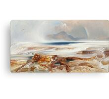 Thomas Moran - Hot Springs Of The Yellowstone 1872. Mountains landscape: mountains, rocks, rocky nature, sky and clouds, trees, peak, forest, Canyon, hill, travel, hillside Canvas Print