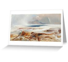Thomas Moran - Hot Springs Of The Yellowstone 1872. Mountains landscape: mountains, rocks, rocky nature, sky and clouds, trees, peak, forest, Canyon, hill, travel, hillside Greeting Card
