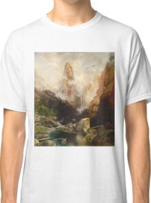 Thomas Moran - Mist In Kanab Canyon, Utah. Mountains landscape: mountains, rocks, rocky nature, sky and clouds, trees, peak, forest, Canyon, hill, travel, hillside Classic T-Shirt
