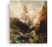 Thomas Moran - Mist In Kanab Canyon, Utah. Mountains landscape: mountains, rocks, rocky nature, sky and clouds, trees, peak, forest, Canyon, hill, travel, hillside Canvas Print