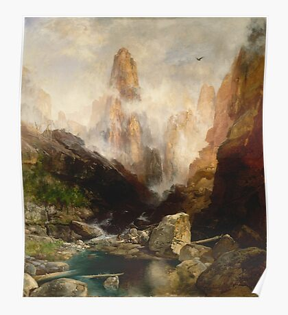 Thomas Moran - Mist In Kanab Canyon, Utah. Mountains landscape: mountains, rocks, rocky nature, sky and clouds, trees, peak, forest, Canyon, hill, travel, hillside Poster