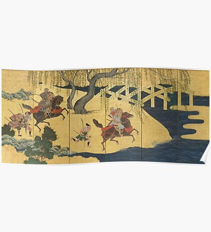 Tosa School - Folding Screen With Design Of The Battle At Uji River. Forest view: forest , horses,  samurai, exploit, warrior, river, bridge, horseman, hunting,  tradition,  sport Poster