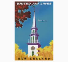 """""""UNITED AIRLINES"""" Fly to New England Print Kids Tee"""
