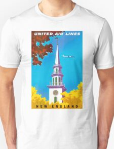 """UNITED AIRLINES"" Fly to New England Print Unisex T-Shirt"