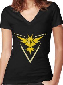 Pokemon GO - Team Instinct (Yellow) Women's Fitted V-Neck T-Shirt