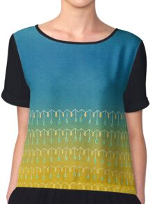 Droplets, Blue and Yellow Women's Chiffon Top