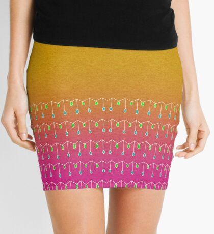 Droplets, Orange and Pink Mini Skirt