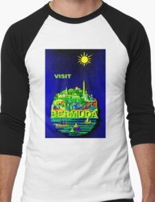 """BERMUDA"" Vintage Travel Advertising Print Men's Baseball ¾ T-Shirt"