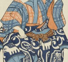 Utagawa Kuniyoshi - Actor Portraying A Seller Of Birds For Release 1850. Man portrait:  actor ,  mask,  face,  man ,  samurai ,  hero,  costume,  kimono,  tattoos,  theater,  shows Sticker
