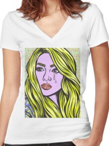 Pop Art Blonde Crying Comic Girl Women's Fitted V-Neck T-Shirt