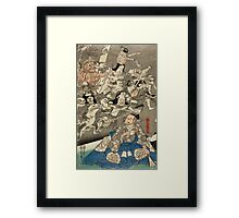 Utagawa Kuniyoshi - Warrior Minamoto Raiko And The Earth Spider. People portrait: party, woman and man, people, family, female and male, peasants, crowd, romance, women and men, city,  society Framed Print