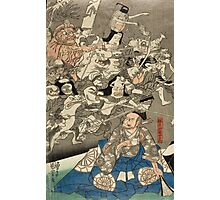 Utagawa Kuniyoshi - Warrior Minamoto Raiko And The Earth Spider. People portrait: party, woman and man, people, family, female and male, peasants, crowd, romance, women and men, city,  society Photographic Print