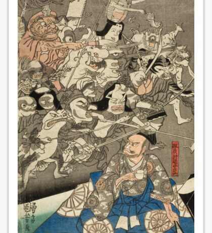 Utagawa Kuniyoshi - Warrior Minamoto Raiko And The Earth Spider. People portrait: party, woman and man, people, family, female and male, peasants, crowd, romance, women and men, city,  society Sticker