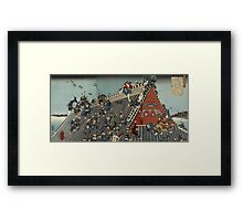Utagawa Kuniyoshi - Hakkenden No Uchi Horyu-Kaku; On The Roof At Horyu-Kaku. People portrait: party, woman man, people, family, female and male, peasants, crowd, romance, women and men, city,  society Framed Print