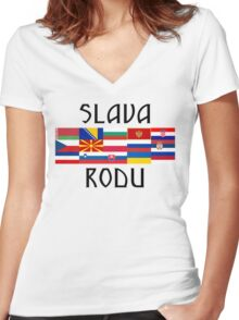 Slavic Glory and Unity Women's Fitted V-Neck T-Shirt