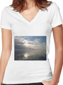 Calm Water Women's Fitted V-Neck T-Shirt