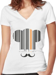 Chef hat mustache codebar design Women's Fitted V-Neck T-Shirt