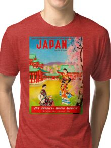 """PAN AM AIRLINES"" Fly to Japan Print Tri-blend T-Shirt"