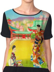 """PAN AM AIRLINES"" Fly to Japan Print Chiffon Top"
