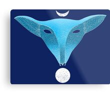 Blue fox mask with moons Metal Print
