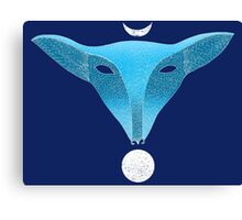 Blue fox mask with moons Canvas Print
