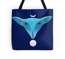 Blue fox mask with moons Tote Bag