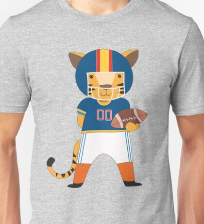 Cartoon Animals Sports Tiger Football Player Unisex T-Shirt