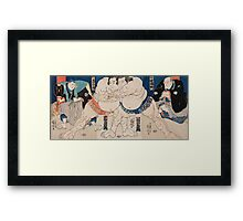 Utagawa Yoshifuji - The Sumo Wrestlers Shiranui Dakuemon. Man portrait:  people,  sumo,  traditional,  wrestler,  wrestling,  fat,  overweight,  rice,  sport,  body, macho Framed Print