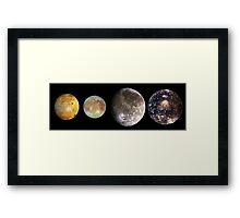 The four largest moons of Jupiter, Galilean Satellites, space Framed Print